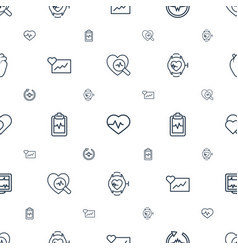 heartbeat icons pattern seamless white background vector image