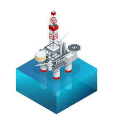 isometric platform for production oil and gas oil vector image
