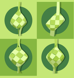 ketupat collection for eid al-adha flat vector image