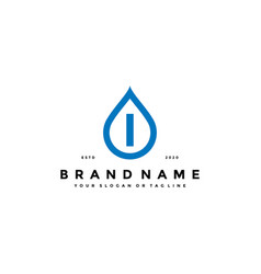 Letter i water drop logo design vector