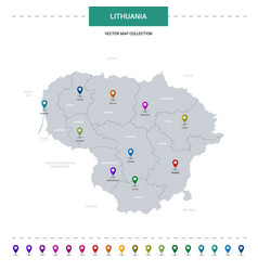 Lithuania map with location pointer marks vector