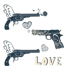 Love guns set Vintage emblems with gun shooting a vector