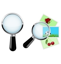 Magnifying glass Transparent on postcards vector image