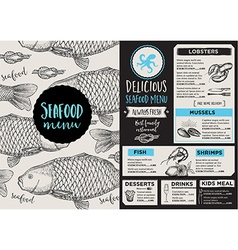 Menu seafood restaurant template placemat vector