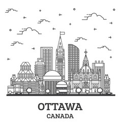 outline ottawa canada city skyline with modern vector image