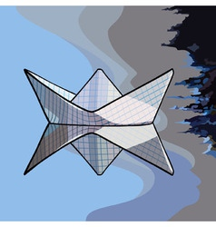 paper boat on the water vector image