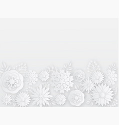 papercut white flowers spring summer paper vector image