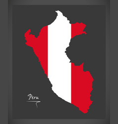 Peru map with peruvian national flag vector