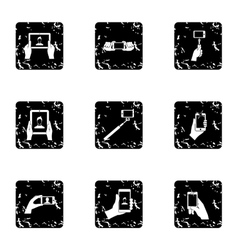 Photography on smartphone icons set grunge style vector