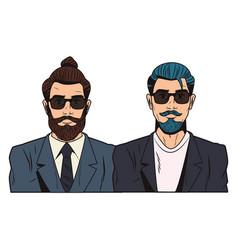 Pop art hipster men cartoon vector