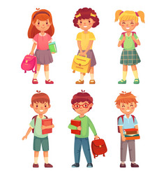 primary school kids cartoon children pupils vector image
