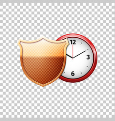 Protected guard shield and classic red clock vector