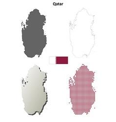 Qatar outline map set vector