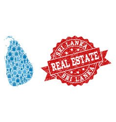 Real estate composition of mosaic map of sri lanka vector