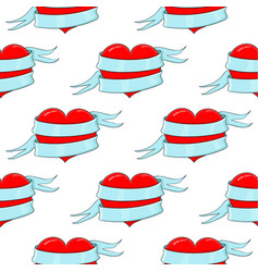 red heart with blue ribbon colored doodle as vector image