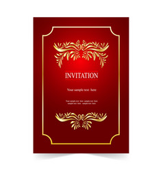 Red invitation card wedding card with ornamental vector