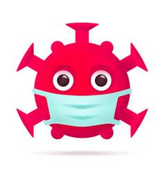 red virus emoticon with medical mask coronavirus vector image