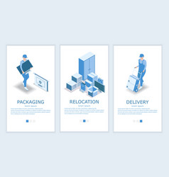 Relocation website and mobile app template vector