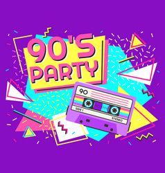 retro party poster nineties music vintage tape vector image