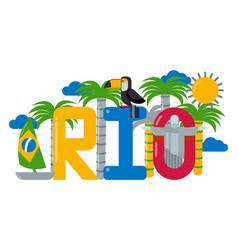 Rio brazil text town logo palm tree boat sun vector