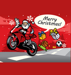 santa riding sport bike vector image
