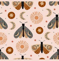 Seamless pattern with celestial moth moon sun vector