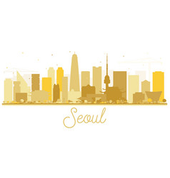 seoul korea skyline silhouette with golden vector image