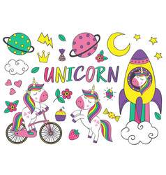set isolated cute unicorn and elements part 2 vector image