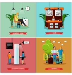Set of airport concept design elements in vector