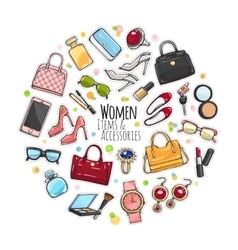 Set of Different Women Items and Accessories vector image