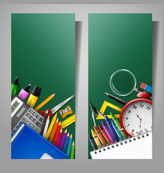set of two vertical banners with school supplies vector image