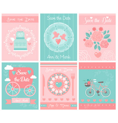 set of wedding template card or invitations vector image