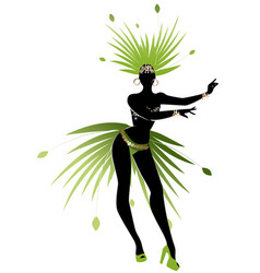 silhouette girl dressed like a star feathered vector image