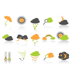 Simple color weather icons set vector