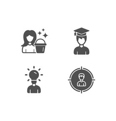 Student cleaning and education icons headhunting vector