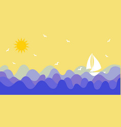 Sunny sky with birds and ship sailing the sea or vector