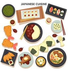 sushi fish salmon or tuna raw dish on table vector image