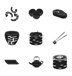 Sushi set icons in black style Big collection of vector