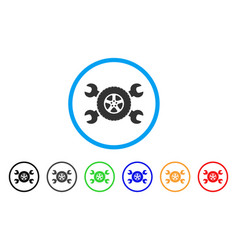 tire service wrenches rounded icon vector image