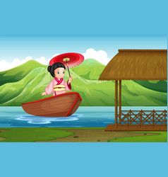 traditional japanese girl in nature vector image