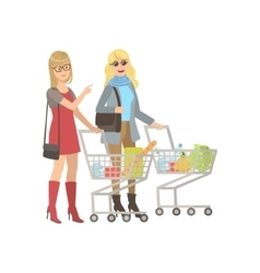 Two Girlfriends Shopping In Grocery Shop vector image