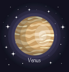 Venus planet in space with stars shiny cartoon vector