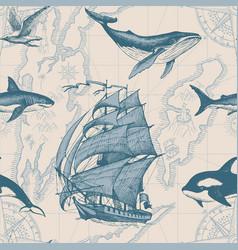 Vintage seamless pattern on theme sea travel vector