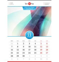 Wall Calendar 2016 November Template with Abstract vector image