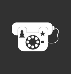 White icon on black background landline phone vector