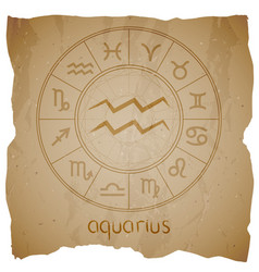 With hand drawn zodiac sign aquarius vector