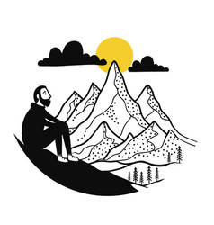 with sitting man looking to mountain vector image