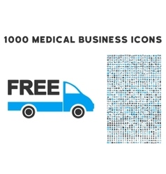 Free Delivery Icon with 1000 Medical Business vector image