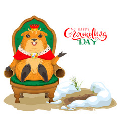 happy groundhog day greeting card marmot king vector image vector image