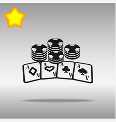 poker black icon button logo symbol vector image